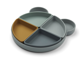 Liewood Monkey Platter  Arne Food Divider Plate - Mr Bear Blue Fog Multi Mix