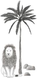 Lilipinso Serengeti Muursticker XL - Leeuw en Palmboom (S1293)