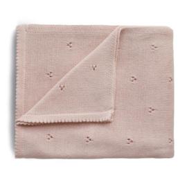 Mushie Deken Knitted Pointelle Baby Blanket - Blush