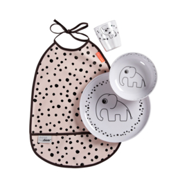 Done by Deer Dinner Set Happy Dots - Roze (set van 4)
