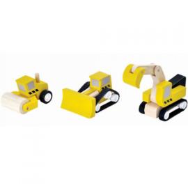 Plantoys Houten Wegenbouwvoertuigen - Geel (set van 3)