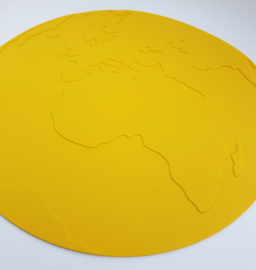 KG Design Placemat Atlas Wereldbol - Geel