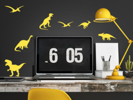 Pom Muurstickers - Dinosaurus (geel) (op=op)