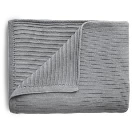 Mushie Deken Knitted Ribbed Baby Blanket - Grey Melange