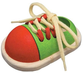 Plantoys Houten Leerspel Tie Up Shoe - Leer Veters Strikken