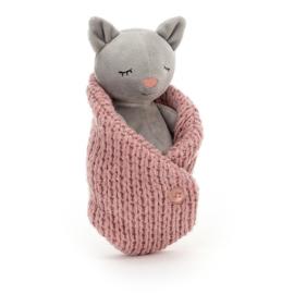 Jellycat Cosie Kitten - Knuffel Poes in Dekentje (18 cm)