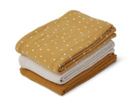 Liewood Line Muslin Cloth Hydrofiele Doeken - Confetti Yellow Mellow Mix (set van 3)