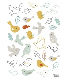Lilipinso Forest Vogeltjes en bladeren - Muursticker (S0697)