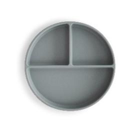 Mushie Siliconen Bord Rond 3-vaks - Stone