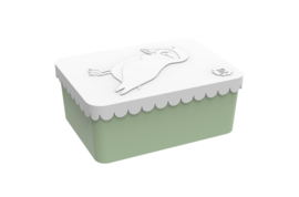 Blafre Lunchtrommel rechthoek Papegaaiduiker - Wit/licht groen