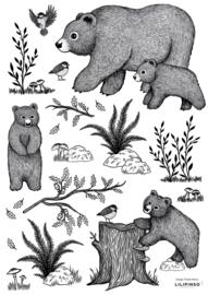 Lilipinso Romanian Hills Muurstickers A3 - Little Bears