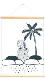 Little and Pure Schoolplaat Dinosaurussen - Wit (dubbelzijdig)