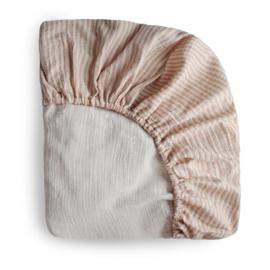 Mushie Hoeslaken Extra Soft Muslin Crib Sheet - Natural Stripe