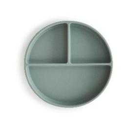 Mushie Siliconen Bord Rond 3-vaks - Cambridge Blue