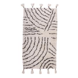 KidsDepot Vloerkleed Berber - Zwart Wit (80x150cm)