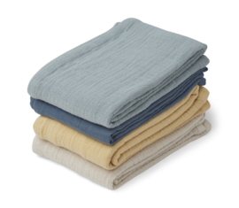 Liewood Leon Muslin Cloth Hydrofiele Doeken - Blue Mix (set van 4)