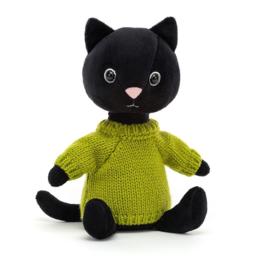 Jellycat Knitten Kitten Lime - Knuffel Kat (22 cm)