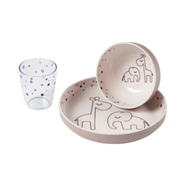 Done by Deer Yummi Mini Dinner Set Dreamy Dots - Roze (3-delig, 6m+)