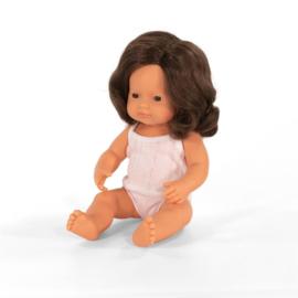 Miniland Pop Europees Bruinharig Meisje - Girl (38 cm)