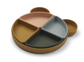 Liewood Monkey Platter Arne Food Divider Plate - Mr Bear Golden Caramel Multi Mix