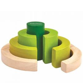 Plantoys Houten Cirkel Blokken - Groen