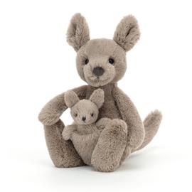 Jellycat Knuffel Kangoeroe Small - Kara Kangaroo met baby in buidel (20 cm)