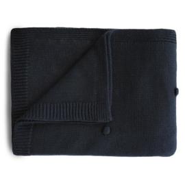 Mushie Deken Knitted Textured Dots Baby Blanket - Dark Navy