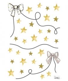 Lilipinso Flamingo strikken en sterren - Muursticker (A3) (S1099)