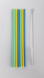 KG Design Siliconen Rietjes  - Mix Blauw (set 6)