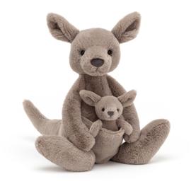 Jellycat Knuffel Kangoeroe - Kara Kangaroo met baby in buidel (37cm)