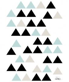 Lilipinso Origami Play Driehoeken Mint Blauw - Muursticker (A3) (S1046)