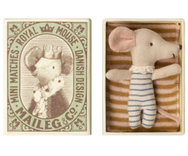 Maileg Baby Mouse Sleepy/Wakey in Box - Boy (8 cm)
