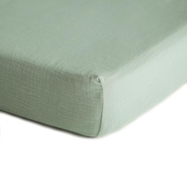 Mushie Hoeslaken Extra Soft Muslin Crib Sheet - Roman Green