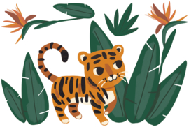 Lilipinso Jungle Night Muursticker XL - Jungle and Tiger