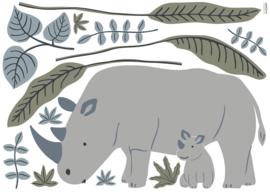 Lilipinso Tanzania Muursticker XL - Neushoorn met Baby
