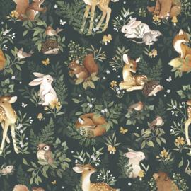 Lilipinso Behang Sample Oh Deer Behang - Forest Friends (Pine Forest)