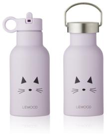 Liewood Anker Waterbottle Drinkfles - Cat Light Lavender (350ml)