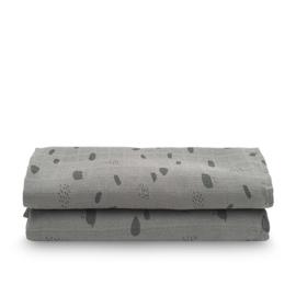 Jollein Hydrofiele Doek Large Spot - Storm Grey (set van 2)