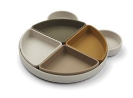 Liewood Monkey Platter Arne Food Divider Plate - Mr Bear Sandy Multi Mix