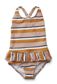 Liewood Zwempak Amara Swimsuit UPF 50+ - Stripe Rose Mustard (maat 56/62)