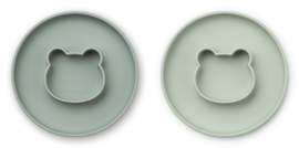 Liewood Siliconen bord met geïntegreerde kom Gordon - Mr Bear Mint Mix (set van 2)