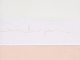 Jollein Wieg Laken Love You - Pale Pink (75 x 100 cm)