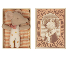 Maileg Baby Mouse Sleepy/Wakey in Box - Girl (8 cm)
