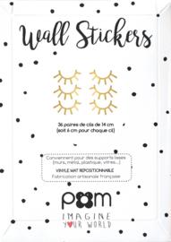 Pom Muurstickers - Wimpers Klein (goud)