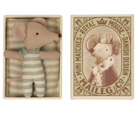 Maileg Baby Mouse Sleepy/Wakey in Box - Boy (8 cm)