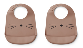 Liewood Tilda Bib Siliconen Slab - Cat Dark Rose (set van 2)