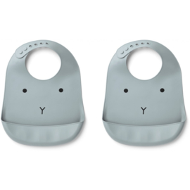 Liewood Tilda Bib Siliconen Slab - Rabbit Sea Blue (set van 2)