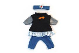 Miniland Poppen Kleding Set Zwart 3-delig - Meisjes (40 cm)