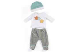 Miniland Poppen Pyjama wit en grijs - (40 cm)