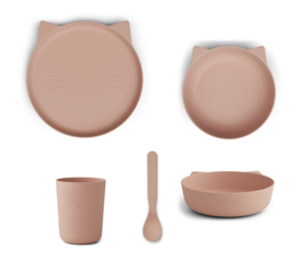 Liewood kinderservies kunststof PLA  - Paul Cat Rose Blush